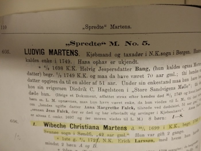 Utdrag fra boken Stamtavle over slækten Martens i Bergen.....