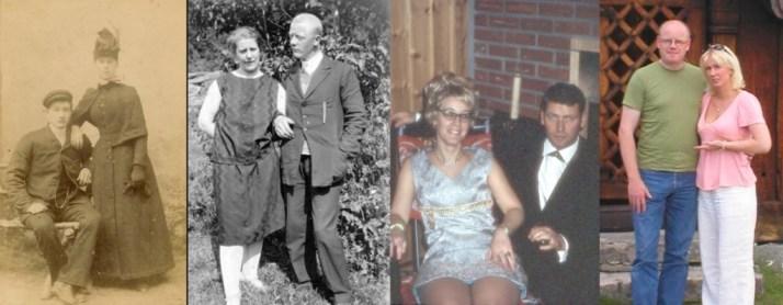 mine oldeforeldre, mine besteforeldre, min mor og far - samt min mann og jeg.