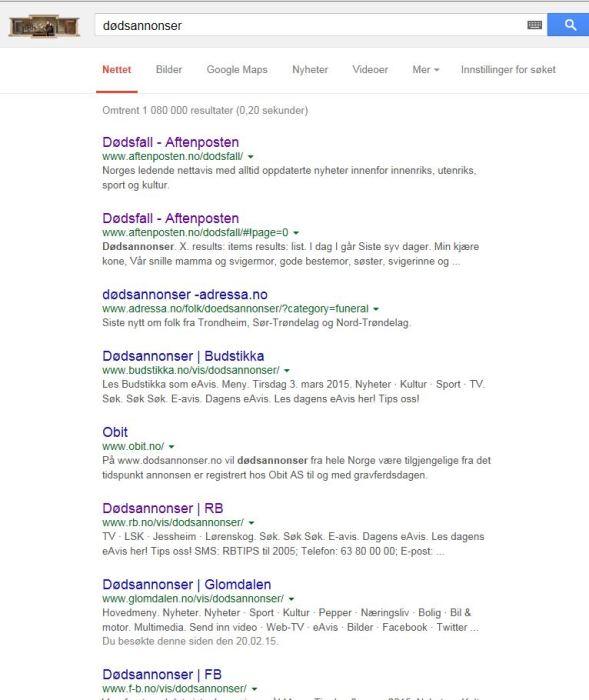 Fra søkemonitoren Google