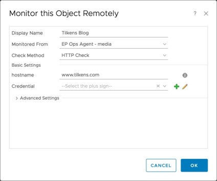 vROps Remote Monitor Options