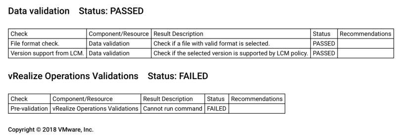 vRSLCM vROps Upgrade Failure Report