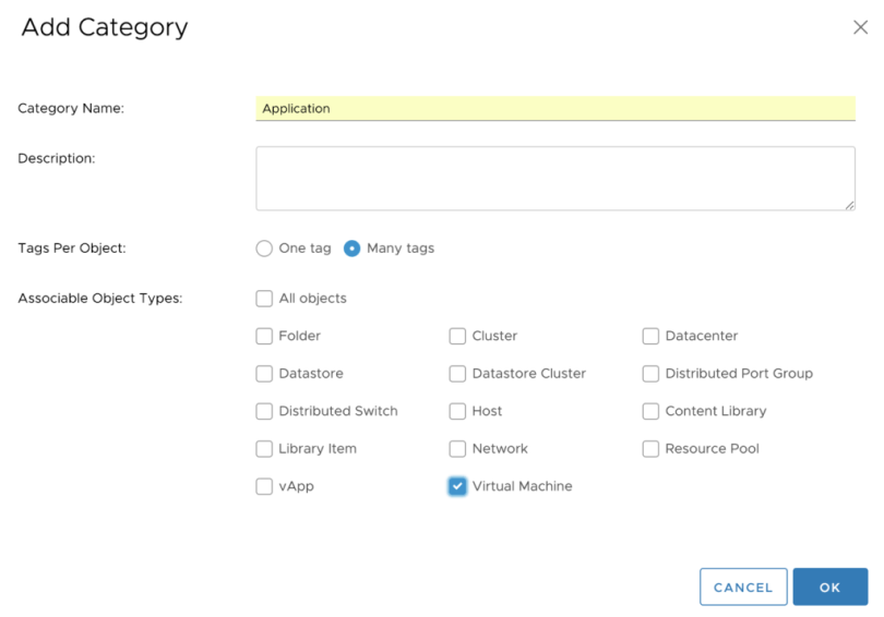 Application Tag Category