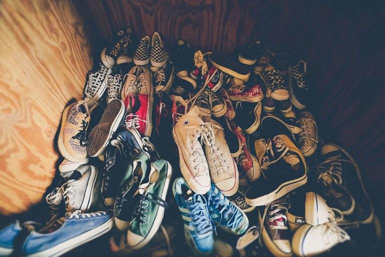 pile of sneakers
