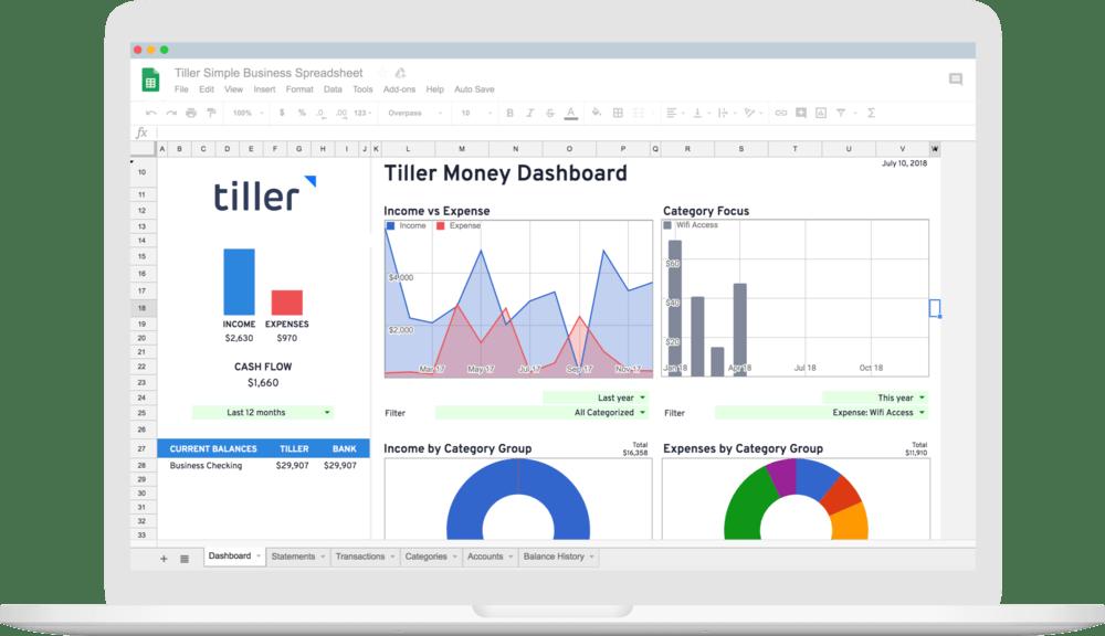 Tiller Simple Business Spreadsheet