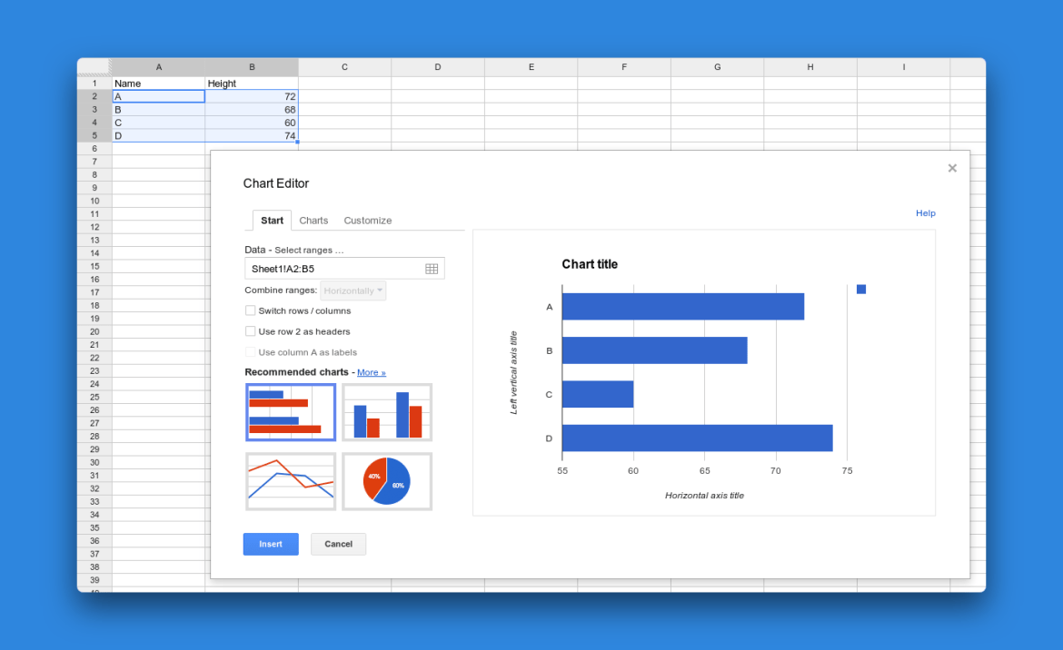 Google Sheets Powerful reports, charts, tables, and visualizations