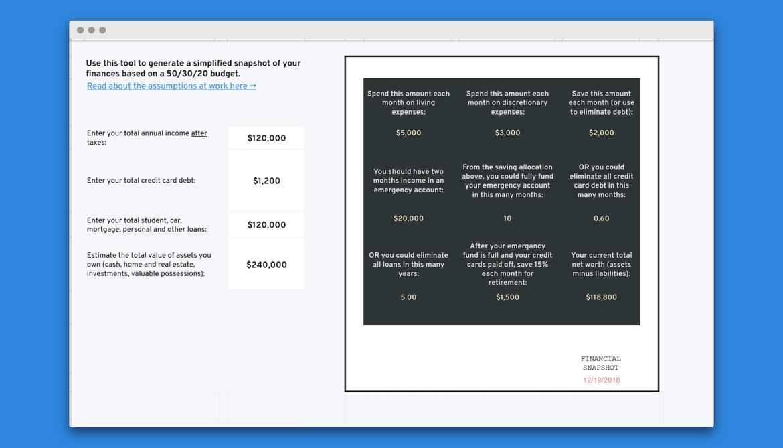 Financial Snapshot Spreadsheet