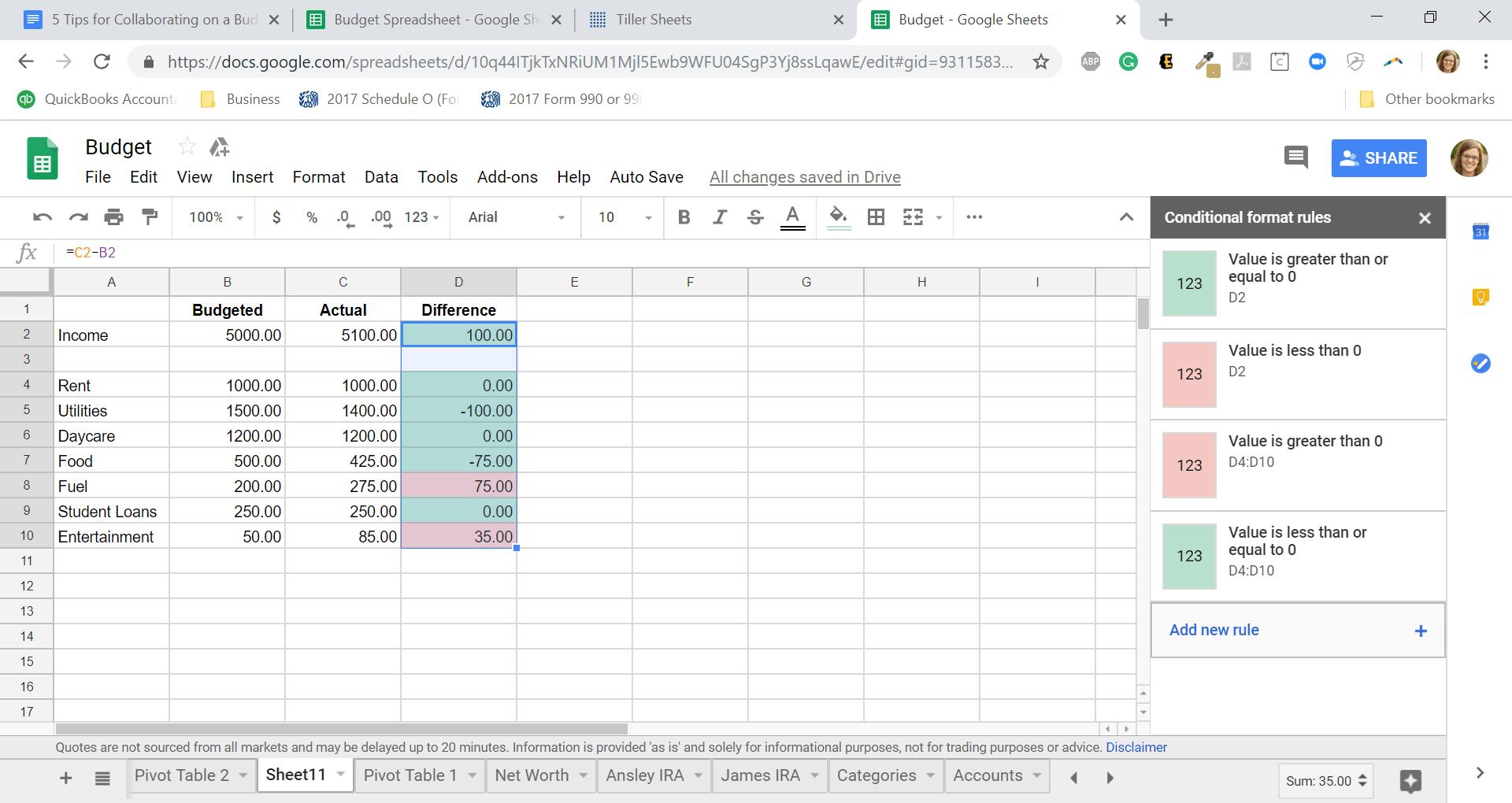 Budget in shared Google Spreadsheet