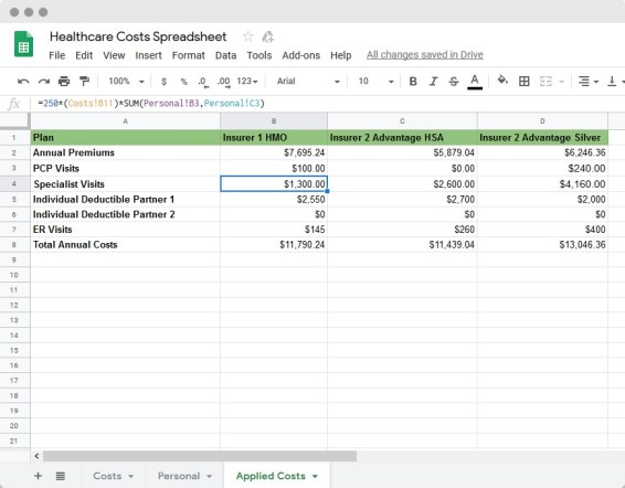 Specialist Visits Spreadsheets