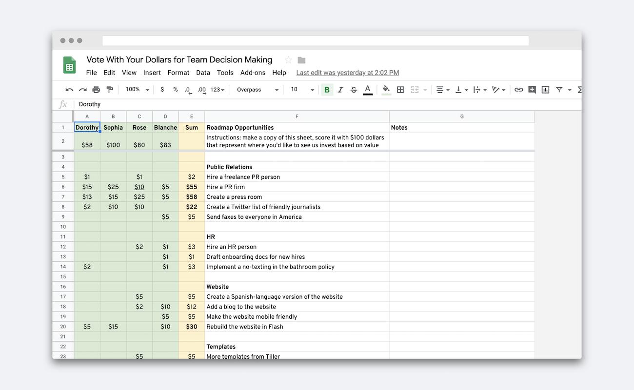 $100 Test in a Spreadsheet