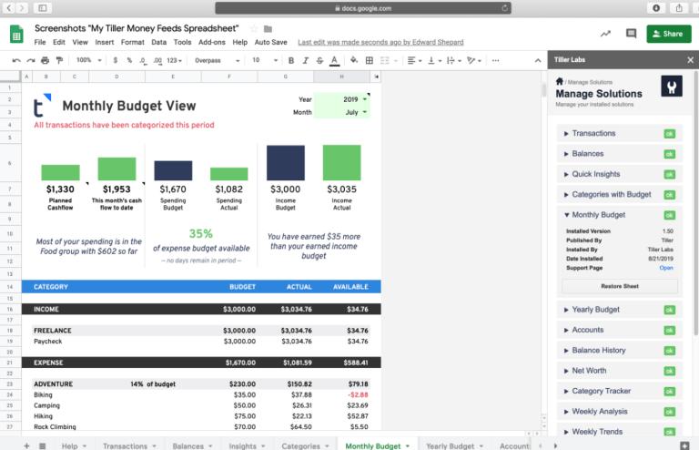 Monthly Budget - Tiller Labs