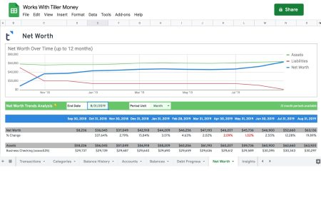 net worth tracker spreadsheet works with tiller money