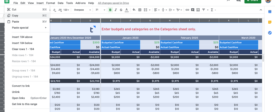 Cash Flow Planning Google Sheets