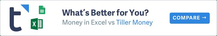 Compare Tiller Money Vs Money In Excel