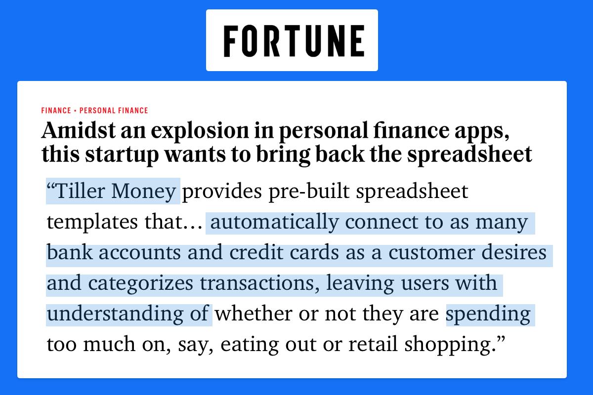Fortune Magazine Tiller Money