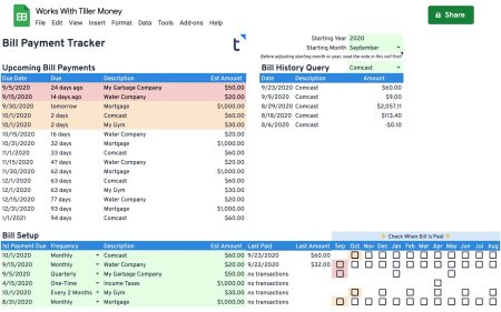 bill tracker spreadsheet works with tiller money
