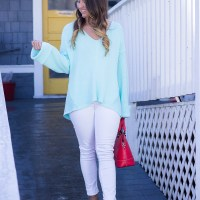 Aqua Bell Sleeve Sweater