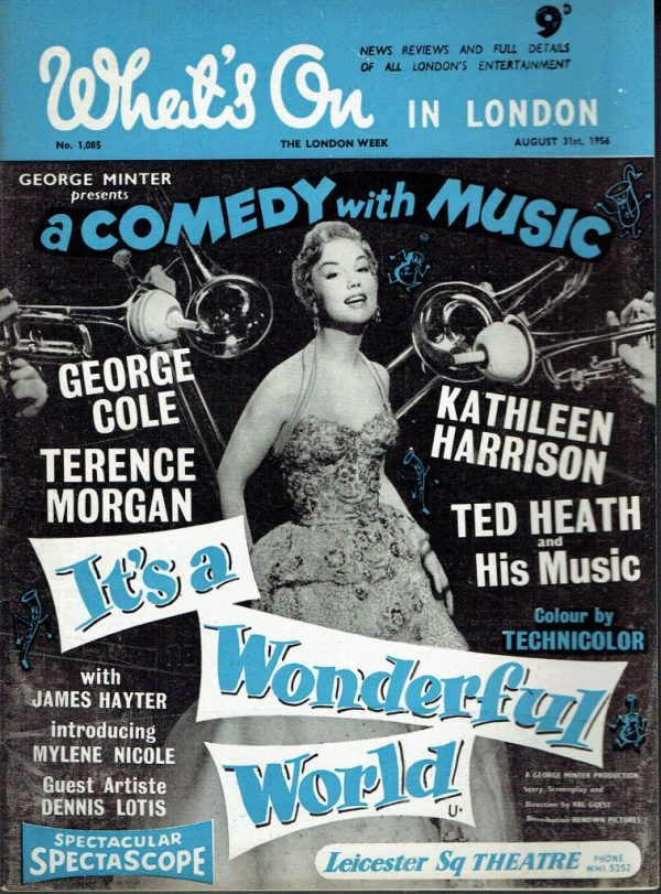 WHATS ON IN LONDON UK MAGAZINE AUGUST 31ST 1956 KATHLEEN ...