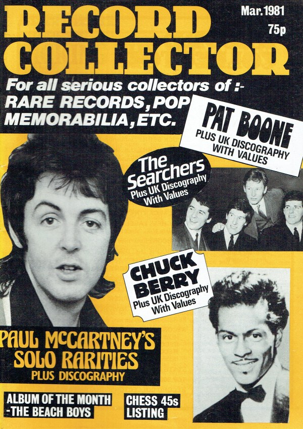 RECORD COLLECTOR UK MAGAZINE MARCH 1981 PAT BOONE ...