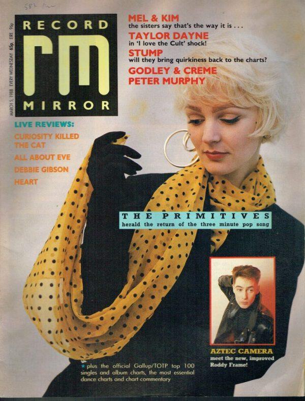 RECORD MIRROR UK MAGAZINE MARCH 5TH 1988 THE PRIMITIVES ...