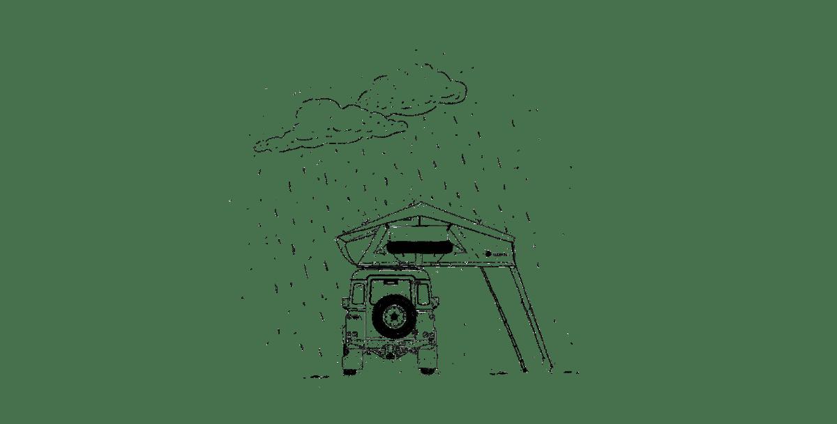 Dachzelten bei Regen