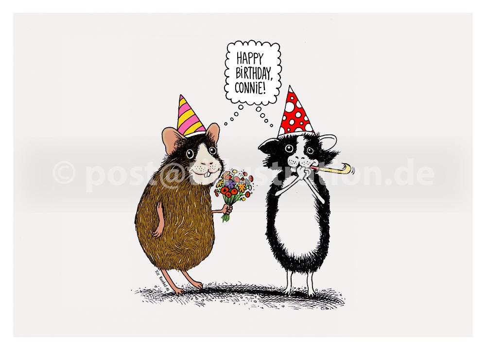 Geburtstagskarte mit zwei Meerschweinchen