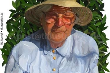 Eine realistische Portraitzeichnung meiner Großmutter