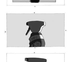 Eine Sprüflasche dreht sich in drei Phasen.