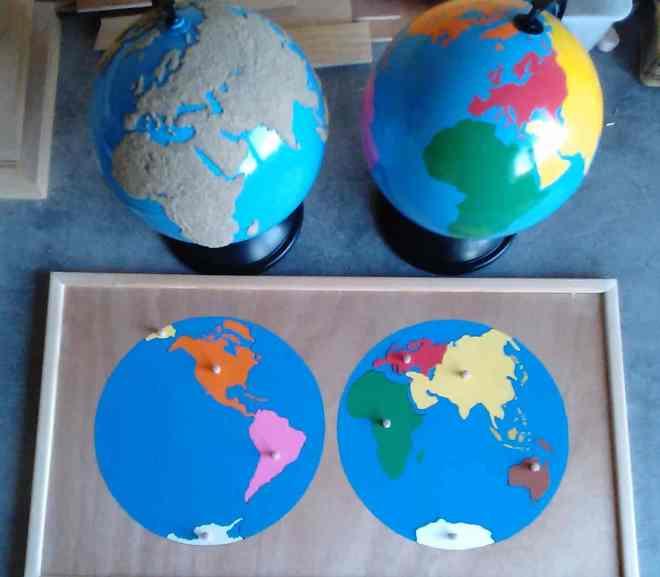 Globes et puzzle du monde Montessori