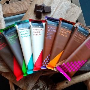 Kuva kahdeksasta Kultasuklaan suklaalevystä, joita pääsee maistelemaan suklaatastingissa