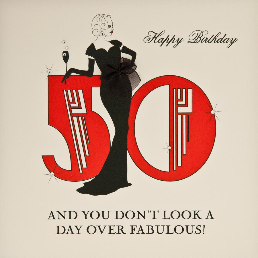 Day Over Fabulous Handmade 50th Birthday Card B20