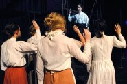 "TCHS Theatre students perform in ""Triangle,"" Oct. 2014."