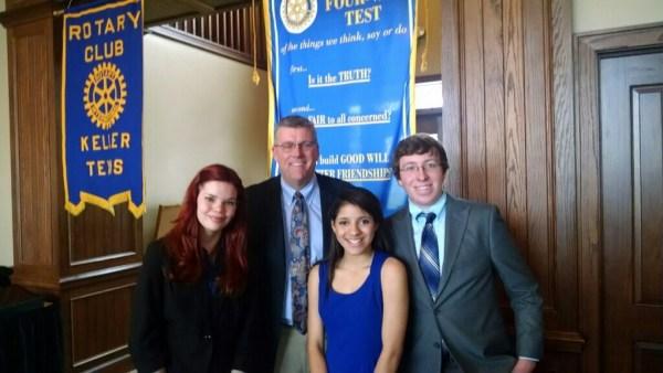 Pictured Emily Gogle, Keller ISD Supertintendent Dr. Randy Reid, Shaniya Sillers, Jacob Tate. (March 3, 2015)