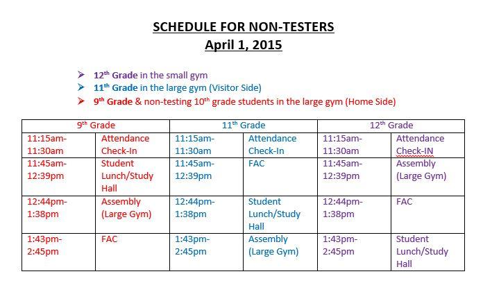 schedule non testers april 1