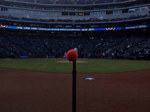 Photo from the field of Globe Life Park taken by varsity men's choir member Adam Thomas. (Courtesy of Adam Thomas)