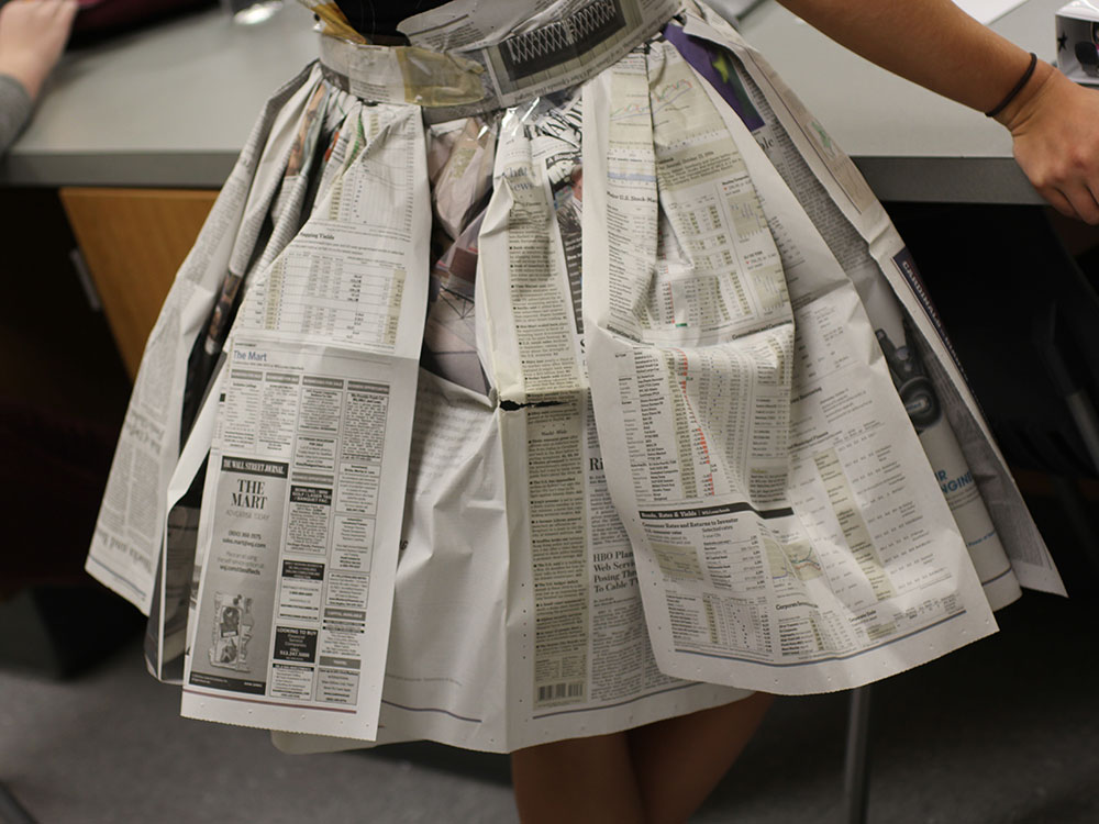 Fashion design students put on recycled fashion show for Designers that use recycled materials