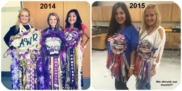Senior Class President Addie Whitaker shows a comparison of here 2014 and 2015 mums.