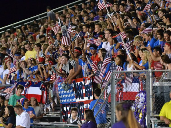 "The TCHS student section ""The Nest"" cheers during the Sept. 11, 2015 Homecoming game against Irving. (Photo from The Creek Yearbook photographer Phil Oliveria.)"