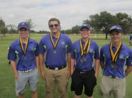 The team consisting of Alex Eyeington, Dillon Fontaine, Noah Scullin, and Ross Shockly took home the first place medals. (Photo from TCHS Golf.)