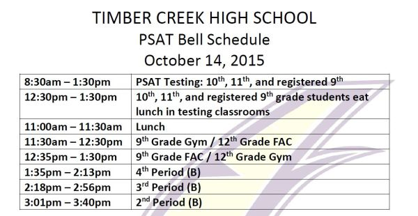 psat adjust bell schedule oct 14 2015