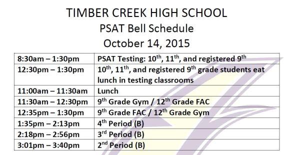 psat adjust bell schedule oct 14 2015