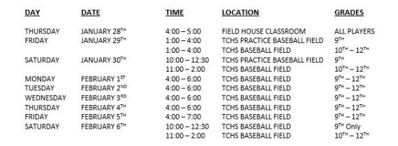 baseball tryouts schedule 2016