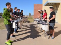TCHS Drumline members practice outside on Feb. 11, 2016. (Photo by Phil Oliveira.)
