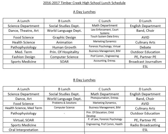 lunch schedule 2016-17