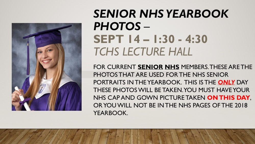 Senior NHS Pictures, Glamourcraft Portraits and Retakes Begin Sept ...