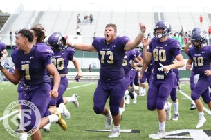Timber Creek players celebrate as they leave the field during the Sept. 2, 2017 home opener. (Photo by Yearbook Editor Taylor Deker.)