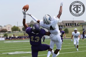 Erik Ezukanma grabs a one-handed catch to score a touchdown during the Sept. 2, 2017 home opener. (Photo by Yearbook Editor Taylor Deker.)