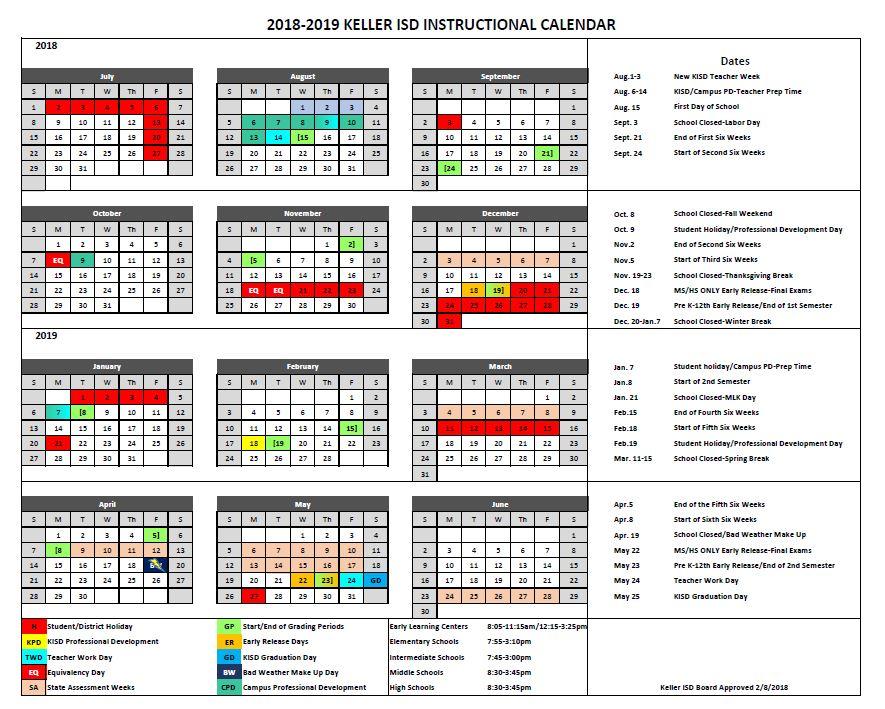 2018 19 Kisd Calendar 002 Timber Creek Talon