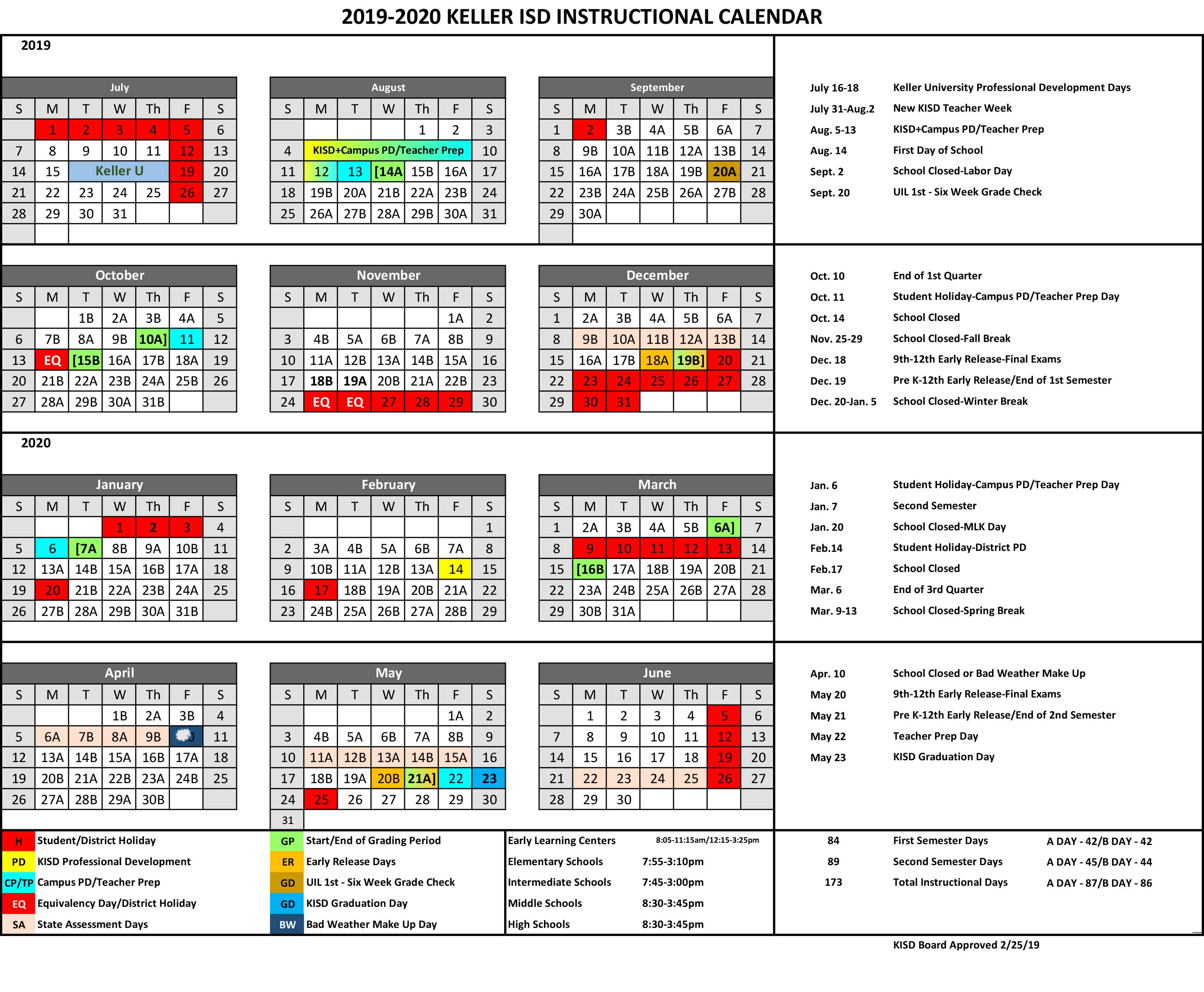 Keller Isd Calendar 2020 A B Instructional Calendar   2019 2020   Timber Creek Talon