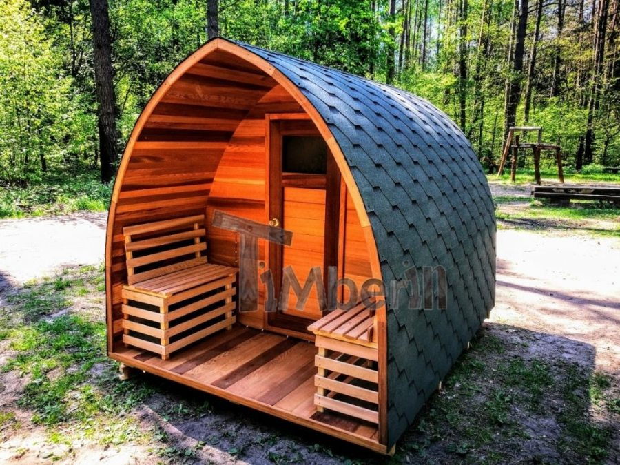 Outdoor sauna iglu design red cedar (4)