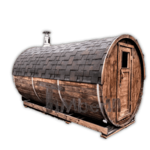 Outdoor barrel garden sauna